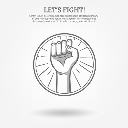 boycott: Monochrome hand drawn poster with clenched fist in hoop held high for fight  vector illustration