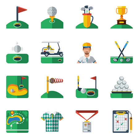 elite sport: Golf Icons Set. Golf Vector Illustration. Golf Flat Symbols. Golf Design Set. Golf Elements Collection. Illustration
