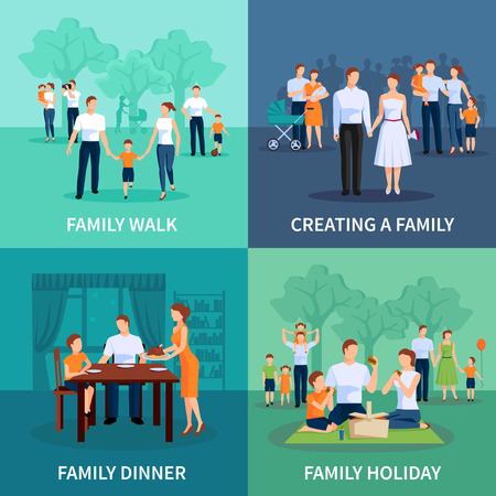 walk: Family concept icons set with family dinner and holiday flat isolated vector illustration