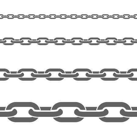 broad: Stainless metal broad and thin steel chains fragments set for decorative seamless border black flat vector illustration Illustration
