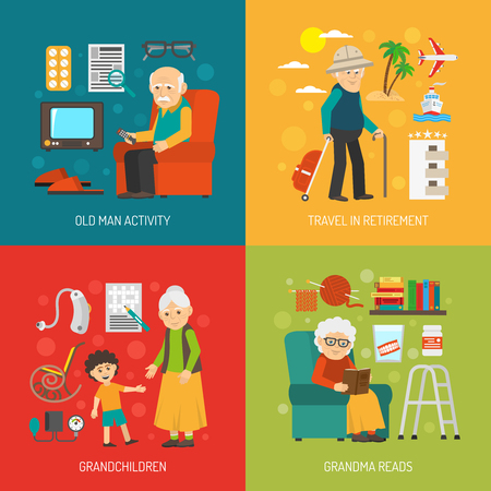 Old people retirement life 4 flat icons square poster with grandchildren and travel abstract isolated vector illustration Illustration