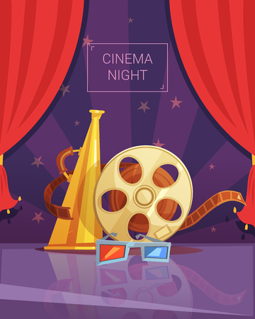videotape: Cinema night cartoon background with videotape and red curtain vector illustration