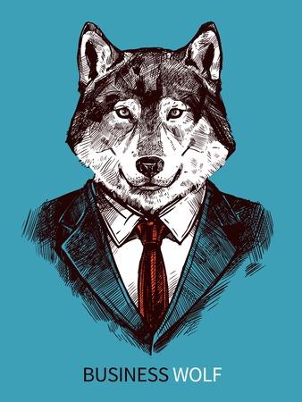 dibujado a mano cartel del lobo de negocios en traje retrato sobre fondo azul ilustración vectorial de la moda