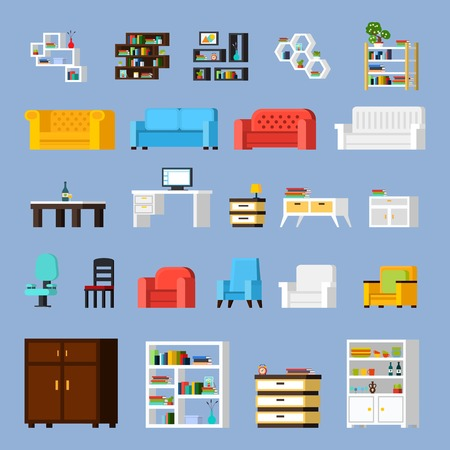 Icon set of different furniture elements for living room cabinet or hall orthogonal isolated vector illustration Illustration