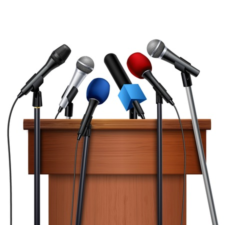 talker: Different multicolored microphones near tribune prepared for conference meeting set on white background realistic vector illustration