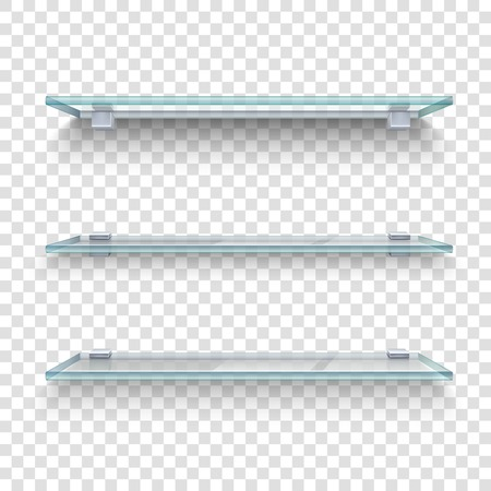 Three alike glass shelves on transparent grey and white plaid background realistic vector illustration Vectores
