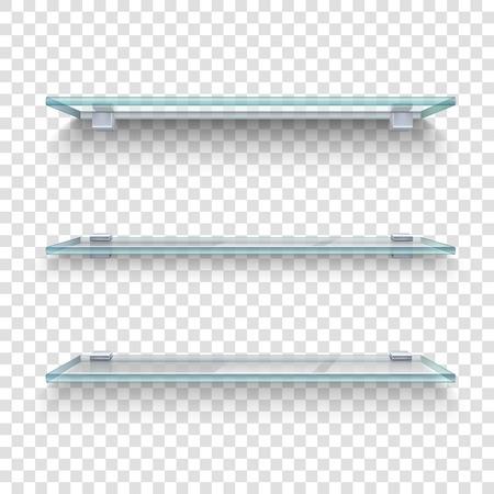 estanterias: Tres estantes de vidrio por igual en gris y blanco a cuadros transparente ilustración realista del vector