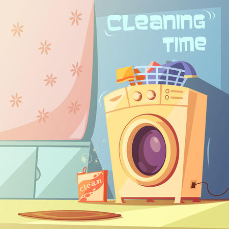 carpet cleaning service design: Cleaning time cartoon background with washing machine and bath vector illustration