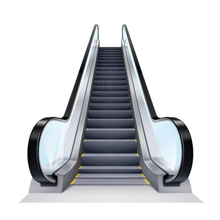 Single escalator on white background realistic isolated vector illustration Çizim