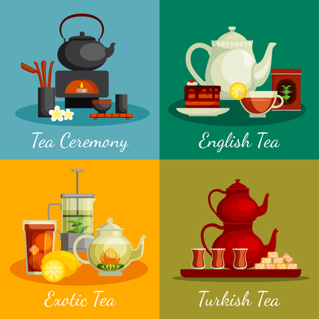 tea ceremony: Tea concept icons set with tea ceremony symbols flat isolated vector illustration