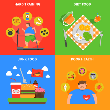 poor diet: Obesity 2x2 design concept with junk food as cause of poor health and diet food for healthy lifestyle flat vector illustration