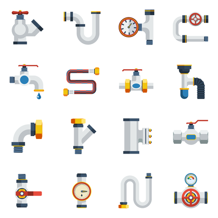 Pipes Icons Set. Pipes Vector Illustration.Pipes Flat Symbols. Pipes Design Set. Pipes Elements Collection. Illustration