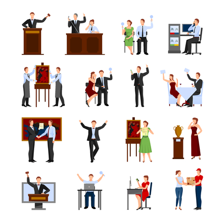 auctioneer: Auction people selling and buying things with holding hammer auctioneer flat icons set isolated abstract vector illustration Illustration