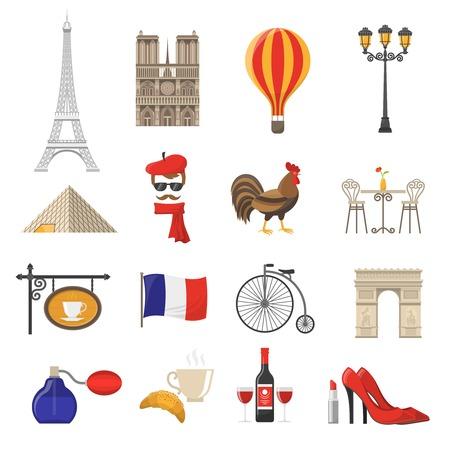France Icons Set.France Vector Illustration.France Flat Symbols.Paris Design Set. Paris Elements Collection.