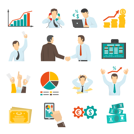 finance icons: Stock Market Icons Set. Stock Market Vector Illustration. Finance Flat Symbols. Finance Design Set. Finance Elements Collection.