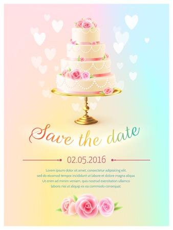 aankondiging uitnodigingskaart van het huwelijk met datum evenement en klassieke tiered cake en hart symbolen realistische vector illustratie