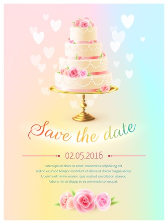 Wedding announcement invitation card with event date and classical tiered cake and heart symbols realistic vector illustration