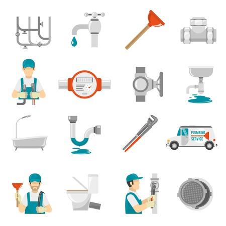 cooling: Plumbing Icons Set.Plumbing Vector Illustration.Plumbing Flat Symbols.Plumbing  Design Set. Plumbing Elements Collection. Illustration