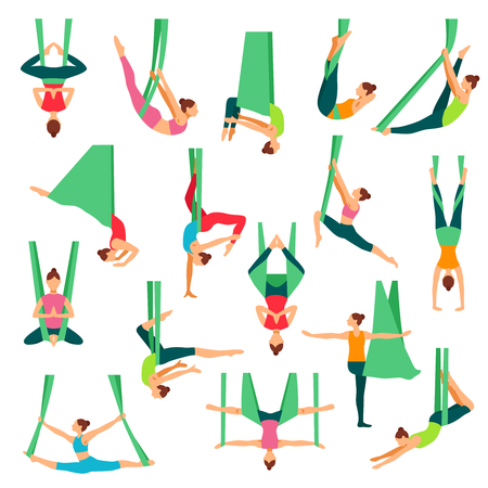 Aero yoga isolated decorative icons set with young girls doing anti gravity yoga exercises in special hammocks flat vector illustration Vectores