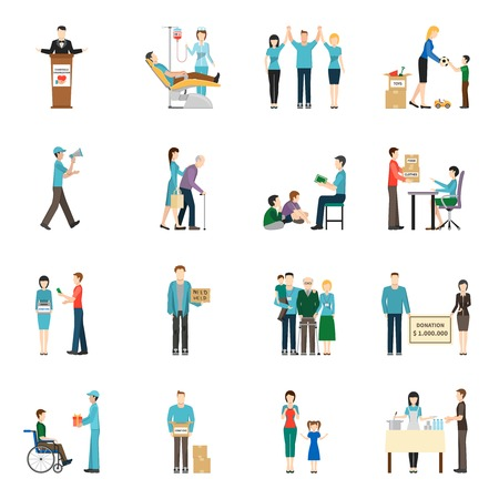 charity collection: Charity Donation Icons Set. Charity Vector Illustration. Charity People Symbols. Charity Flat Elements. Charity People Design. Charity Isolated Collection.