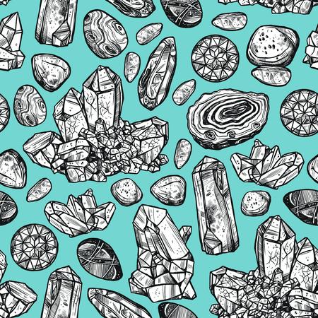 mineral stone: Hand drawn monochrome crystal stones rocks seamless background vector illustration Illustration