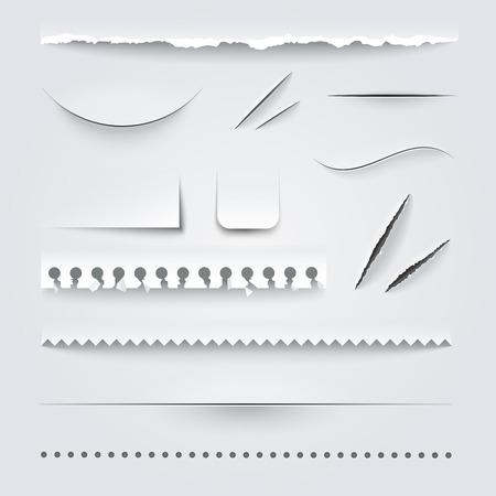 White paper geperforeerd gescheurd gescheurd gekartelde snijkanten structuurvoorbeelden realistische schaduwen vector illustratie