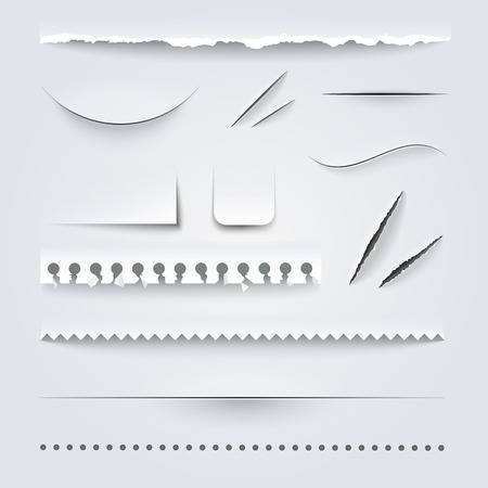 White paper perforated ripped torn jagged cut edges texture samples set realistic shadows vector illustration Ilustração