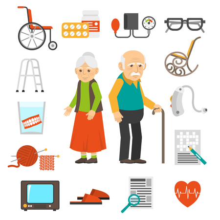 retired: Old couple with senior care products flat icons collection with walker and cane abstract isolated vector illustration
