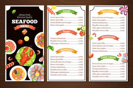 specialities: Compact color menu for seafood cafe or restaurant with wood background with title group of meal vector illustration
