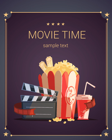 watching movie: Movie time cartoon poster with popcorn cola and tickets vector illustration