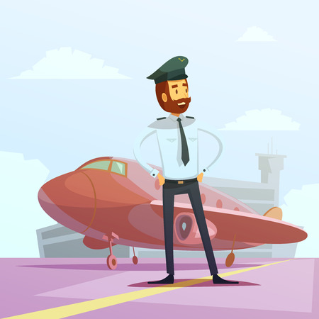cartoon window: Pilot in a uniform and plane cartoon background with airport building vector illustration