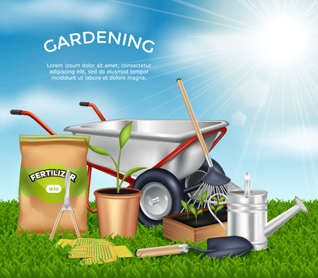 handcart: Gardening tools on green grass design concept set in sunlight at blue sky background vector illustration Illustration