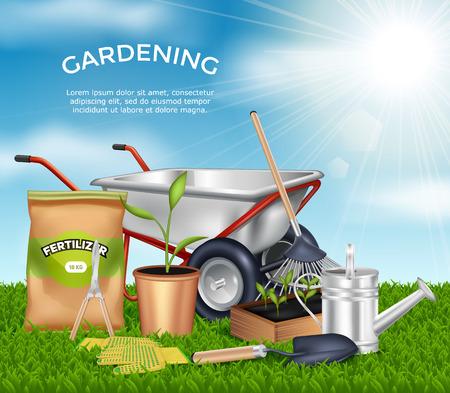 himmel hintergrund: Gartengeräte auf grün Design-Konzept Gras gesetzt im Sonnenlicht am blauen Himmel Hintergrund Vektor-Illustration