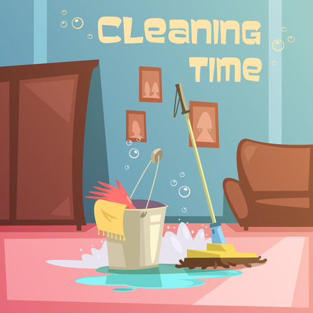 cleaning equipment: Cleaning service cartoon background with equipment water and supplies vector illustration
