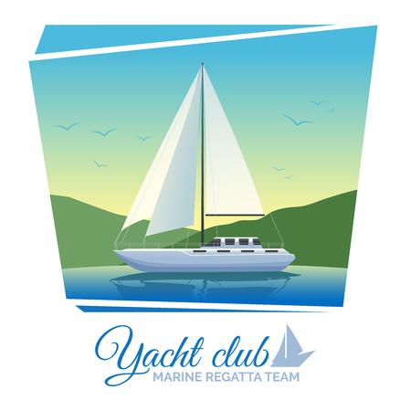 Yate cartel club con el barco de vela en la ilustración vectorial agua plana