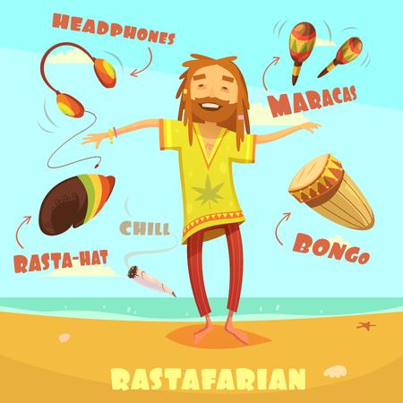 rastafarian: Rastafarian cartoon character set with maracas headphones and bongo vector illustration