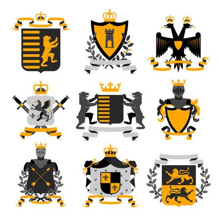 Heraldic coat of arms family crest and shields emblems golden black icons collection abstract isolated vector illustration Stock Illustratie