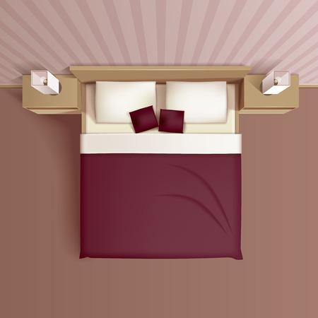 快適なベッドのヘッドボード枕および nightstands 平面図現実的ベクトル図と古典的な家族の寝室インテリア デザイン