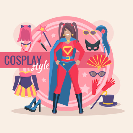 accessory: Superhero cosplay character pack for girl with clothing and magic accessory vector illustration