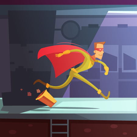 Superhero running in the street with houses and basket cartoon vector illustration