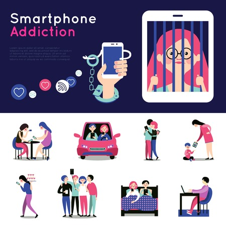 smartphone addiction: Smartphone addiction 2 flat banners with icons of checking mail and chatting in bed abstract vector illustration Illustration
