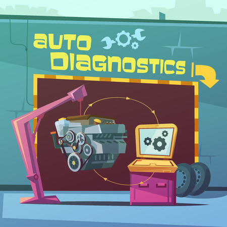 spare: Auto diagnostics cartoon background with equipment and spare parts vector illustration