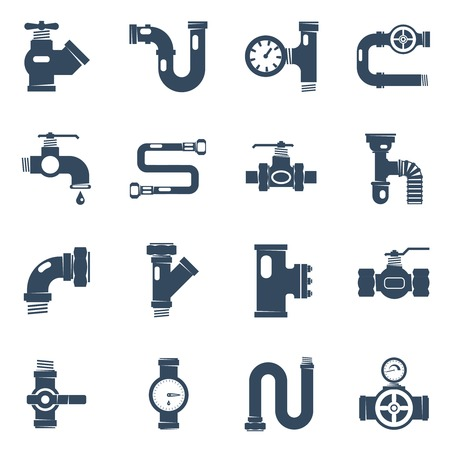 Pipes Black White Icons Set. Pipes Vector Illustration.Pipes Black Flat Symbols. Pipes Design Set. Pipes Elements Collection.