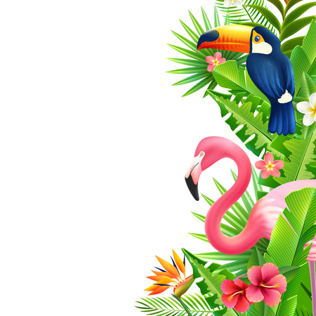 Opulent rainforest foliage vertical border with pink flamingo  toucan and bird of paradise flower colorful vector illustration