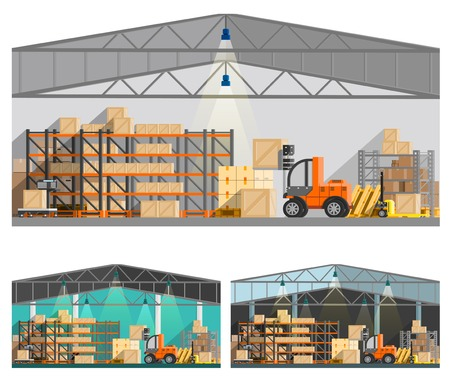 warehouse interior: Warehouse and storage orthogonal compositions set with roof and lamps flat isolated vector illustration