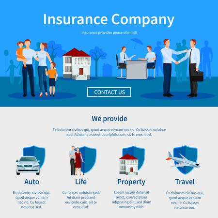 Insurance company one page website with negotiations and icons of auto travel life and property vector illustration Stock Illustratie