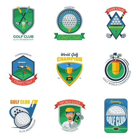 elite sport: Golf Labels Set. Golf Emblems Set. Golf Vector Illustration. Golf Flat Symbols. Golf Design Set.