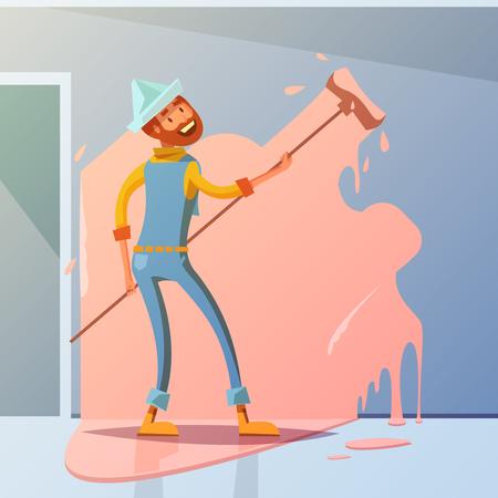 Huis schilder cartoon achtergrond met interieur herinrichting symbolen vector illustratie