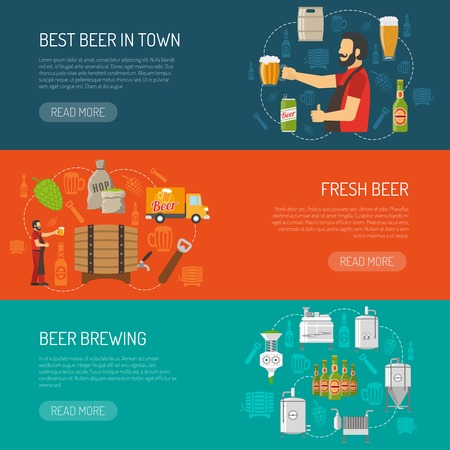 brewery: Brewery Flat Concept. Brewery Horizontal Banners. Brewery Vector Illustration. Brewery And Beer Set. Brewery Design Symbols. Brewery Elements Collection.
