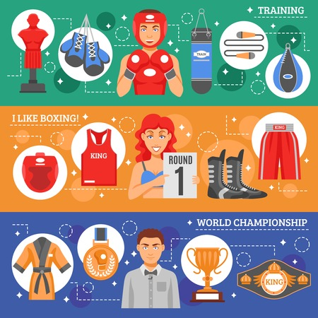 sports training: Sports attributes flat horizontal banners set with boxing training and clothes advertising and world championship awards and prizes collection vector illustration Illustration